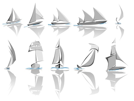 Set di diverse navi a vela (barca) icon in tono grigio con onda blu (semplice vettore).