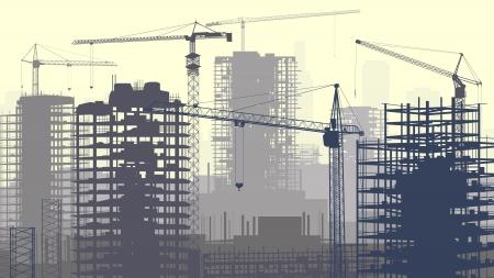 Horizontale vector illustratie van de bouwplaats met kranen en wolkenkrabber in aanbouw in geel-grijs.