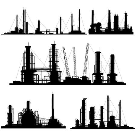 Set van silhouetten van de industriële deel van de stad (fabrieken, raffinaderijen en elektriciteitscentrales). Stock Illustratie