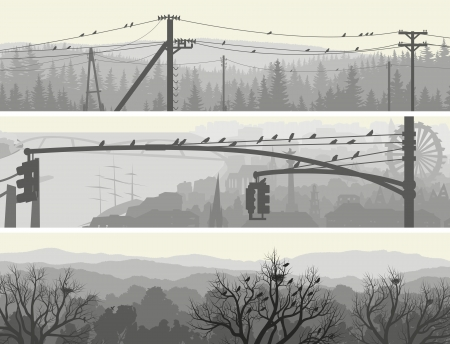 Horizontal abstract banners of flock birds in morning city and forest in pale tone. Vector