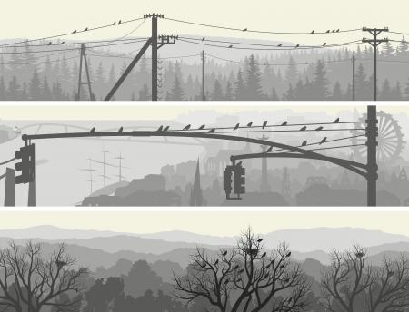 zwerm vogels: Horizontale abstracte banners van zwerm vogels in de ochtend de stad en het bos in bleke tint. Stock Illustratie