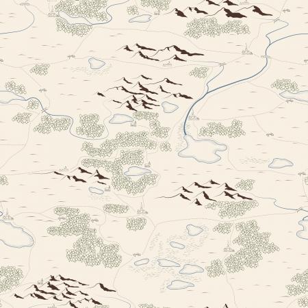 schatkaart: Naadloze achtergrond van artistieke drawed kaart met bossen, meren, rivieren, bergen, heuvels, steden.