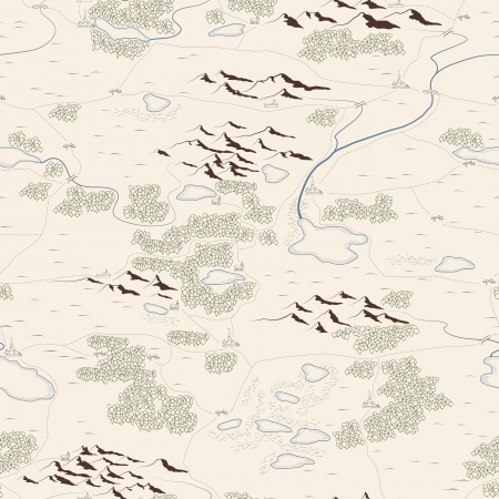 Seamless background of artistic drawed map with forests, lakes, rivers, mountains, hills, cities. Vector