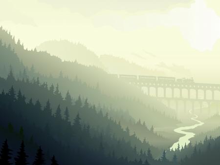 Illustratie van de locomotief op brug (aquaduct) in wilde naaldhout met rivier in de ochtend mist.