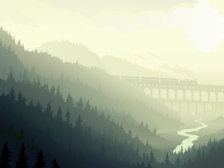 Illustration of locomotive on bridge (aqueduct) in wild coniferous wood with river in morning fog. Vector