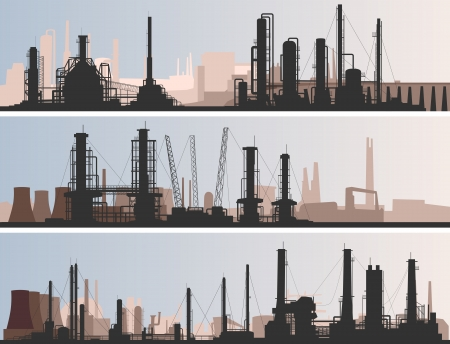 abstract horizontal banner: industrial part of city with factories, refineries and power plants.
