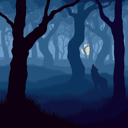 illustration of wolf howling at moon in night forest.