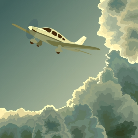 plane cartoon: square illustration: small single-engine private plane among clouds at dusk (twilight).