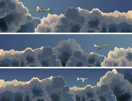 Vector horizontal banner of plane among clouds at dusk (twilight). Vector