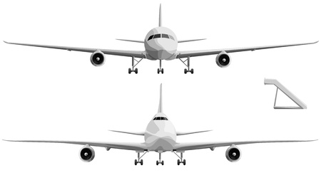 jet airplane: Set of simple illustration of big plane in front with chassis.