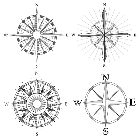 compas de dibujo: conjunto de ilustración de resumen artística brújula dibujos detallados de mapa. Vectores