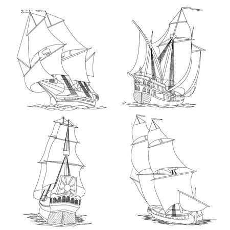 caravelle: Simple jeu d'illustrations artistiques voiliers du 17ème siècle lignes peintes