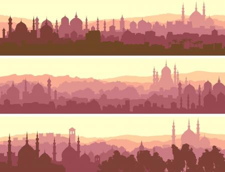Horizontale abstracte banners van arabische stad met moskeeën bij zonsondergang. Stockfoto - 19704027