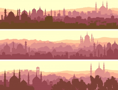 Horizontal abstract banners of arab city with mosques at sunset.
