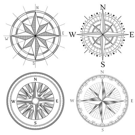 compas de dibujo: Vector conjunto de ilustración de resumen artística brújula dibujos detallada del mapa.