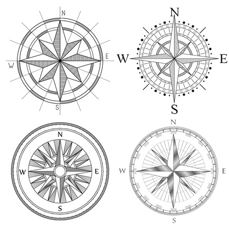 compass: Vector set illustration of abstract artistic detailed drawings compass for area map.