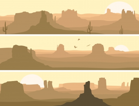 abstract banner horizontal: pradera salvaje oeste con cactus y aves de rapiña. Ilustración de vector