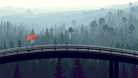 Vector panorama of man with red umbrella on bridge through wild coniferous forest in morning fog with pines. Vector