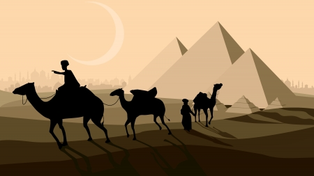 Vector horizontal illustration: bedouin caravan camels against over pyramids with city on horizon. Vector