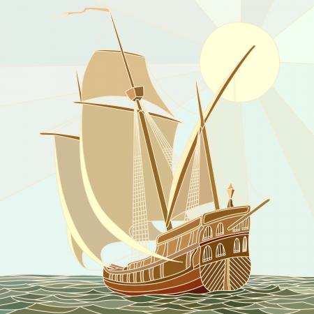 caravelle: Illustration de la voile navires du 17ème siècle en tant que vecteur mosaïque à grandes cellules. Illustration