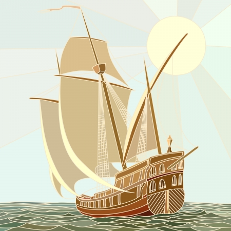 keel: Illustration of sailing ships of the 17th century as vector mosaic with large cells. Illustration