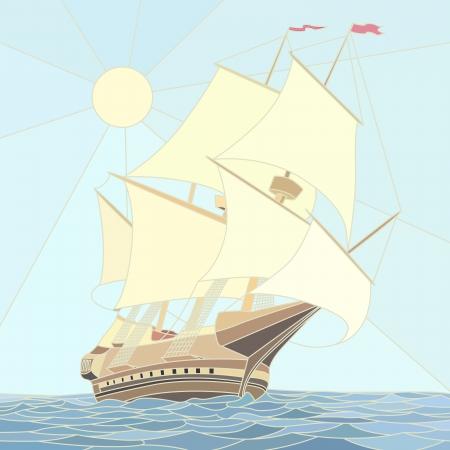 caravelle: Illustration de la voile navires du 17ème siècle en tant que mosaïque à grandes cellules.