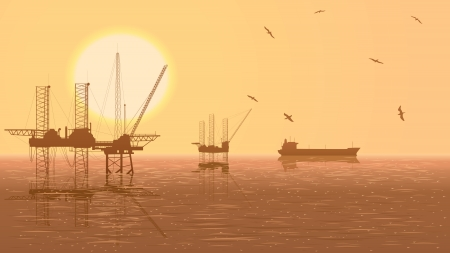 oilwell: Horizontal illustration of oil offshore drilling platforms at sunset with tanker. Illustration