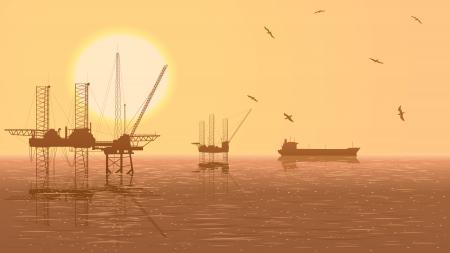 reservoir: Horizontal illustration of oil offshore drilling platforms at sunset with tanker. Illustration