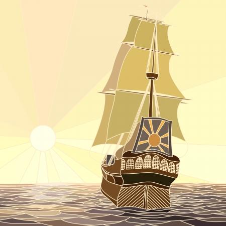 caravelle: Illustration de la voile navires du 17ème siècle au coucher du soleil comme mosaïque à grandes cellules.
