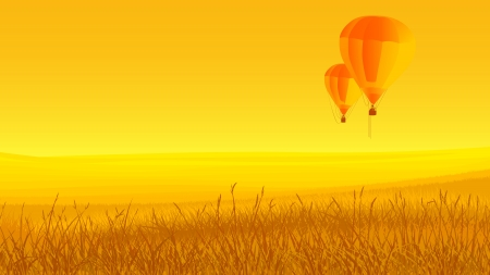 hayfield: Horizontal illustration: two air balloons off ground at sunset in yellow tone. Illustration
