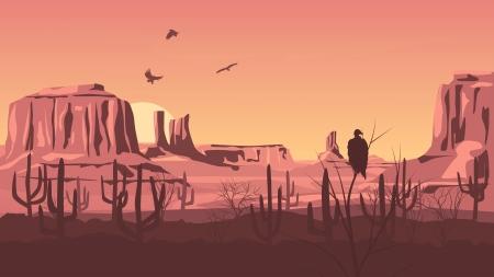 Horizontal cartoon illustration of prairie wild west with cactus at sunset. Çizim