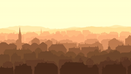 landscape architecture: Horizontal abstract illustration of old historic European city at sunset.