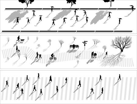 población: Resumen de vectores banner horizontal: multitud de siluetas de personas con las sombras en la lluvia, en el parque y los peatones. Vectores