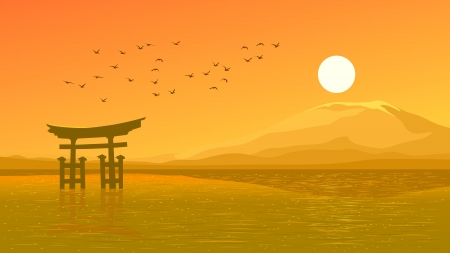 Vector illustration background of Japanese gate (Torii) and flying birds against hot sun and mountain on shore in orange tone. Vector