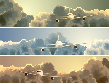 Vector horizontal banner with big plane on background of clouds at sunset. Stock Illustratie
