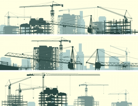 Vector horizontal banner of construction site with cranes and skyscraper under construction.