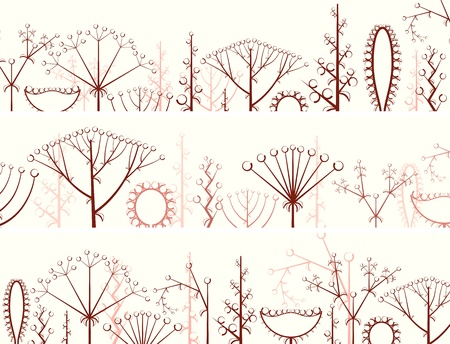 horizontal banner of different types of inflorescence, scientific scheme of flower on stalk (botany).