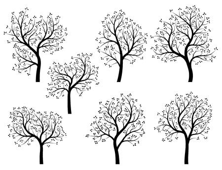 Set di astratto figura stilizzata di primavera alberi con foglie e fiori.