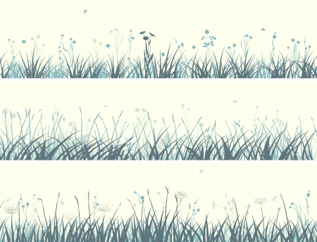 horizontal banners abstract meadow grass with flowers in pale yellow green. Stock Vector - 20298425
