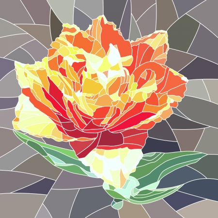 window glass: mosaic with large cells of red orange tulip on grey  Illustration