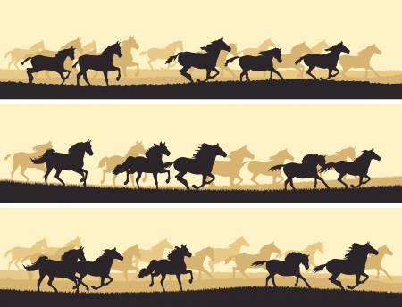 Horizontal vector banner: silhouette herd of horses.
