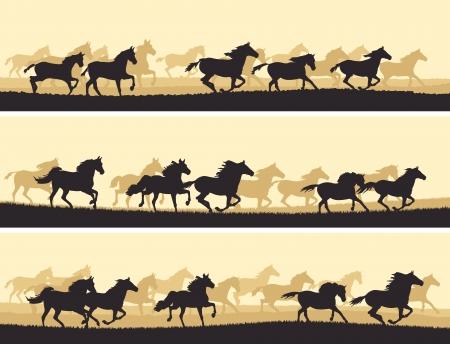 running horses: Horizontal vector banner: silhouette herd of horses.