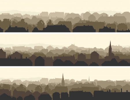 Vector of horizontal banners abstract of old historic European city. Çizim