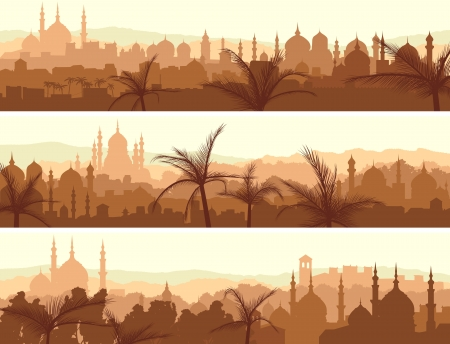 Horizontal abstract banners of arab city with palm trees at sunset. Stock Illustratie