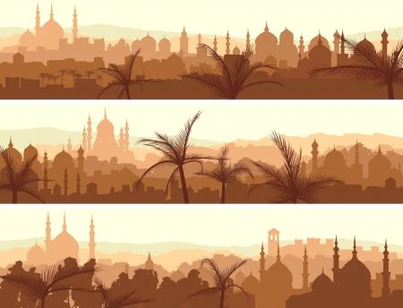 Resumen banners horizontales de la ciudad árabe con palmeras al atardecer.