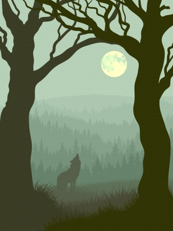 illustration of wolf howling at moon in night forest in green tone.
