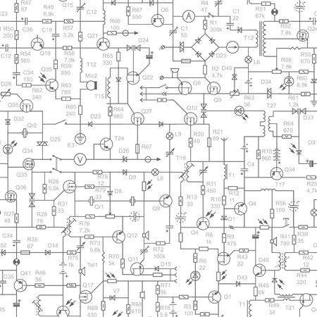 electrical circuit: sfondo senza soluzione di continuit� del circuito elettrico del dispositivo radio (resistenze, transistor, diodi, condensatori, induttori) con nomi (firme). Vettoriali