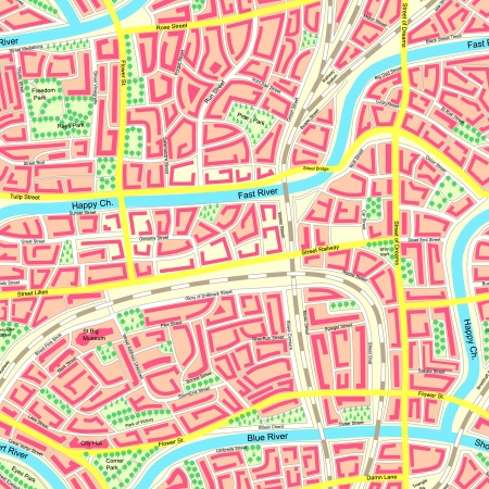 town square: Seamless background detailed map of city with neighborhoods, streets,building, rivers, parks with names. Illustration