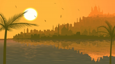 Vector horizontal illustration: arab city with mosques on beach of sea at sunset. Vector