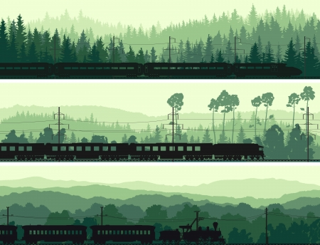 train cartoon: Horizontal abstract banners: locomotive and the high speed train on background hills of coniferous wood in green tone.